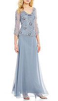 J Kara Cowl Neck Sequin Bodice Cowl Neck 3/4 Sleeve Gown