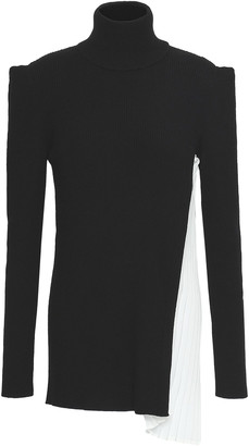 Vionnet Rib-paneled Wool And Silk-blend Turtleneck Top