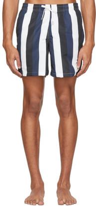 Bather Navy and Black Striped Swim Shorts