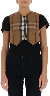 Burberry Checked Cropped Vest