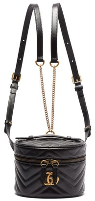 Gucci Gg Marmont Mini Leather Backpack - Womens - Black