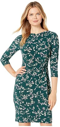 Lauren Ralph Lauren Printed Matte Jersey Trava 3/4 Sleeve Day Dress (Dark Fern/Purple/Multi) Women's Clothing
