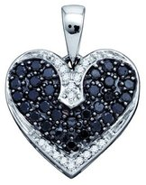 0.51ctw Black & White Round Diamond Heart Pendant