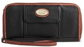 Bolo Women's Faux Leather Wristlet Wallet with Back/Interior Compartment and Zipper Closure - Black/Chocolate
