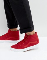 Vans Sk8-hi Canvas Trainers In Red Va38gemx2