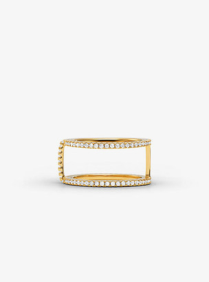 Michael Kors Precious Metal-Plated Sterling Silver Pave Ring Jacket - Gold