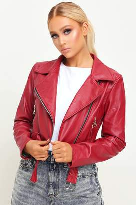 I SAW IT FIRST Red Cropped Belted Biker Jacket