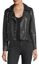 Parker Easton Long-Sleeve Zip-Front Leather Moto Jacket