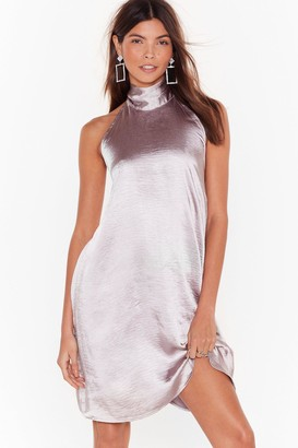Nasty Gal Womens Holding On Satin Halter Dress - Silver