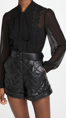 Self-Portrait Faux Leather Lace Trimmed Romper