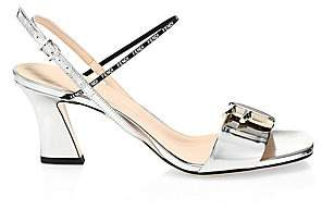 Fendi Women's Logo Metallic Leather Sandals