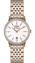 Rotary Women's Quartz Watch with White Dial Analogue Display and Rose Gold Stainless Steel Bracelet LB90057/06