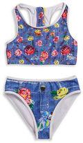 Betsey Johnson Girls 7-16 Denim Floral Bikini