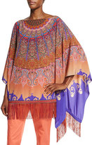 Etro Mandala-Print Silk Poncho, Orange/Purple