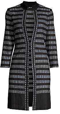 Misook Women's Ribbed Digital Pattern Knit Duster