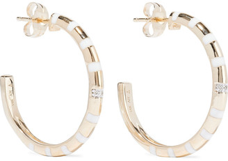 Adina 14-karat Gold, Enamel And Diamond Hoop Earrings