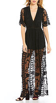 GB Embroidered Lace Deep V-Neck Short-Sleeve Maxi Romper