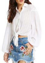Free People Woven Headed to the Highlands Button-Front Top