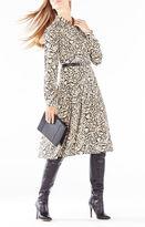 BCBGMAXAZRIA Sunnie Spotted Ocelot Print Shirt Dress