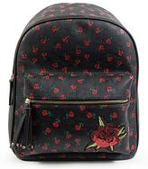 Black & Red Roses Tassel-Zip Backpack