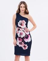 Wallis One Shoulder Placed Floral Dress