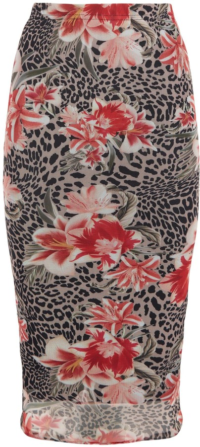 Thumbnail for your product : New Look Floral Leopard Print Mesh Midi Skirt