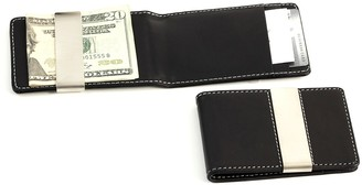 Black Leather Stainless Steel Money Clip Wallet