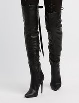 Charlotte Russe Lace-Up Back Over-The-Knee Boots
