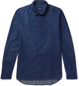 Altea Regent Penny-collar Cotton-chambray Shirt - Indigo