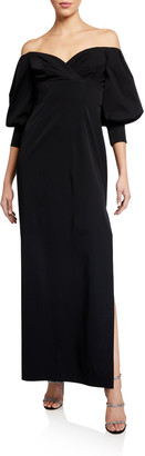 Aidan Mattox Off-the-Shoulder Puff-Sleeve Solid Gown
