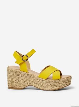Dorothy Perkins Womens Yellow 'Rumba' Flatform Wedge Sandals, Yellow