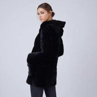DSTLD Hooded Shearling Coat in Black