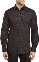 Perry Ellis Black Paisley Sport Shirt