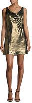 Haute Hippie Morton Lamé; Cowl Slip Dress, Gold