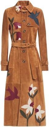 RED Valentino Belted Appliqued Suede Trench Coat