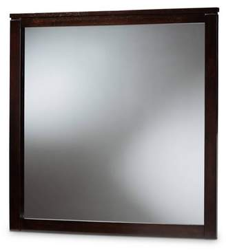 Baxton Studio Eaton Dresser Mirror Dark Brown