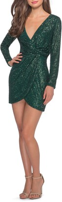 La Femme Tulip Hem Long Sleeve Sequin Minidress