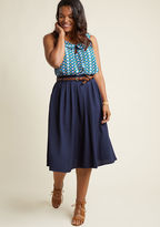 ModCloth Breathtaking Tiger Lilies Midi Skirt in Navy in 2X - Full Skirt Long