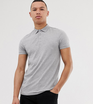 Asos Design DESIGN Tall polo shirt in gray marl