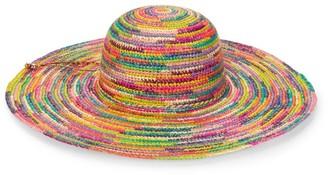 Sensi Crochet Lady Ibiza Rainbow Straw Wide-Brim Hat