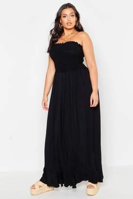 boohoo Plus Sheering Bandeau Maxi Dress