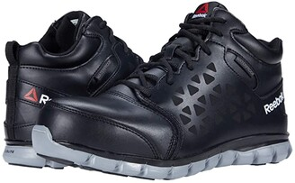 Reebok Work Sublite Cushion Work Mid Comp Toe EH (Black/Grey) Men's Work Boots