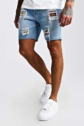 boohoo Skinny Denim Shorts With Leopard Rip & Repair