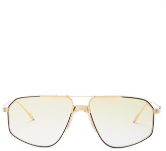Jacques Marie Mage Jagger Aviator Titanium Sunglasses - Green Gold