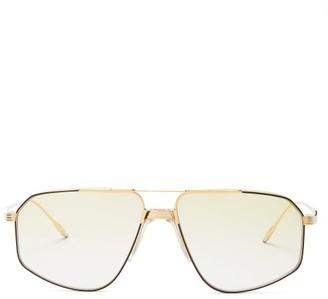 Jagger Jacques Marie Mage Aviator Titanium Sunglasses - Womens - Green Gold