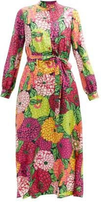 Gucci X Ken Scott Floral-print Silk-twill Dress - Burgundy Multi