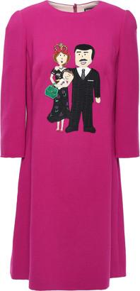 Dolce & Gabbana Appliqued Wool-blend Crepe Dress
