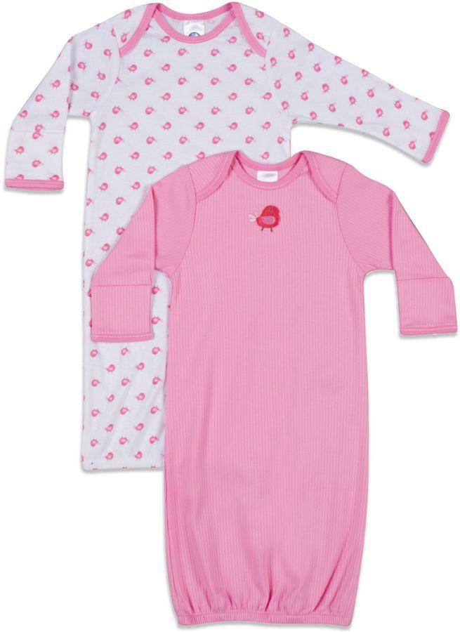 Gerber Newborn 2-Pack Sleeper Gown in White/Pink