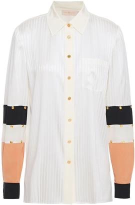 Tory Burch Color-block Studded Stretch-silk And Satin-jacquard Shirt