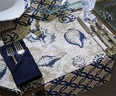 Sanibel Navy Shells on Cream Kitchen Dining Table Placemats Set of 4 Split P by Sanibel Collection